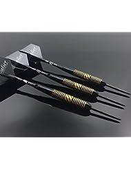 23g dardos de acero dardos dardos de 3 piezas Profi tablero de dardos dardos torneo de dardos punta de acero Conjunto con la caja dura Negro Caja de latón recubrimiento