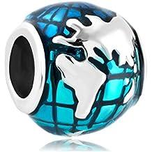 Uniqueen océano azul perlas de plata de ley tierra mundo globo colgantes barato Fit Pandora Chamilia pulsera