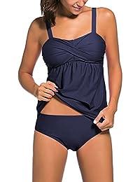 cb114d2f416f Leslady Femme Maillot de Bain 2 pièces Push-up Bikini Pure Couleur Elégant  Tankini avec