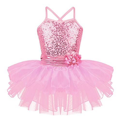 iEFiEL Mädchen Ballettkleid Pailletten Kleid Ballerinas Kostüm Ballett Trikot Ballettanzug mit Tütü Röckchen Tanzkleid Rosa - Tumbling Tanz Kostüm