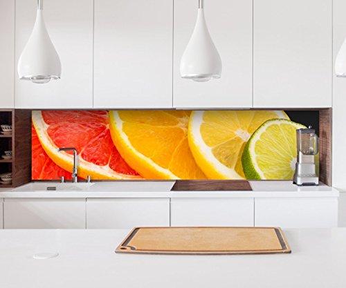Aufkleber Küchenrückwand Orange Obst Scheiben Frucht Küche Zitrone Folie selbstklebend Dekofolie Fliesen Möbelfolie Spritzschutz 22A836, Höhe x Länge:60cm x 300cm