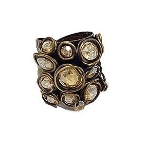 KONPLOTT Ring Sparkle Twist, verstellbare Ringschiene Glas beige-gold -5450543078243