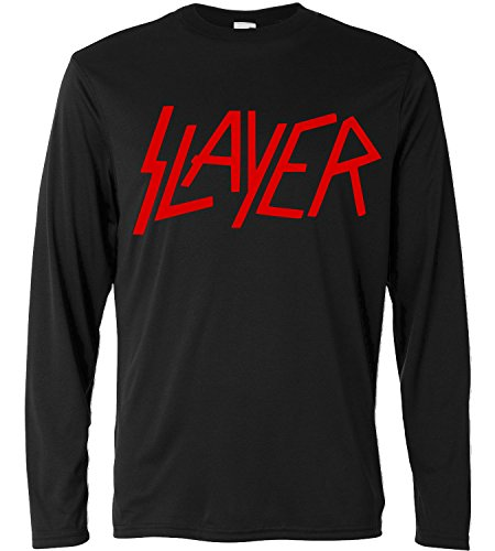 T-shirt a manica lunga Uomo - Slayer - red print - Long Sleeve 100% cotone LaMAGLIERIA, M, Nero