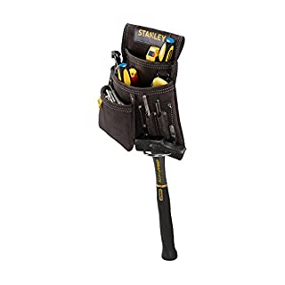 STANLEY STST1-80114 Leather Nail and Hammer Pouch - Black