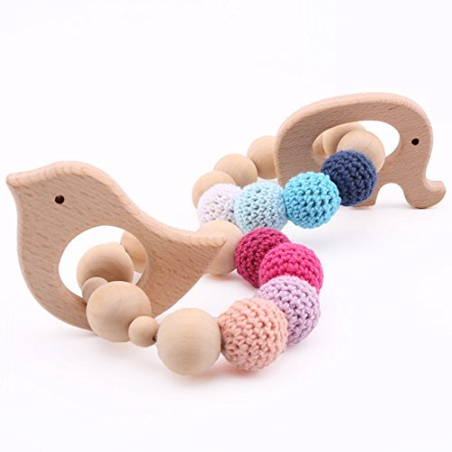 Eco-holz-materialien (baby tete Beißring häkeln Holz Beißring 2pc Eco freundliche hölzerne Kinderkrankheiten Perlen Baby Aktivität Gym Spielzeug Krankenschwester Charms)