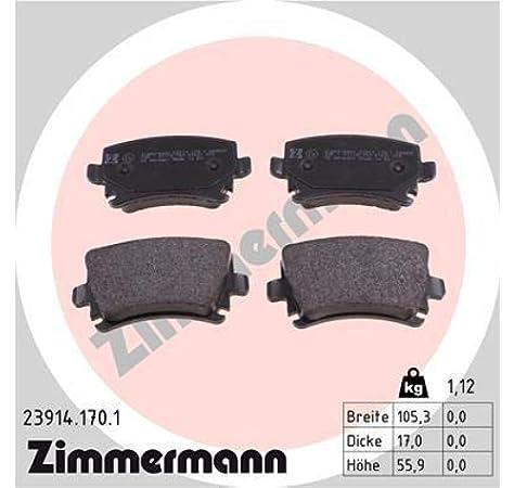 Zimmermann 23914 170 1 Bremsbelagsatz Hinten 8 Federn Mit Vorbereitung Sensoren Inklusive Zubehör Auto