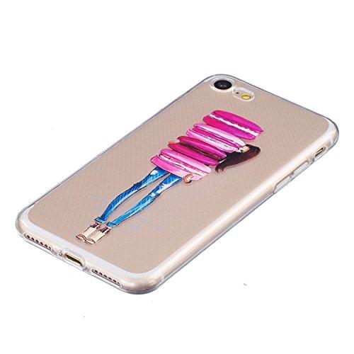 Coque iPhone 7,Coque iPhone 7S, LuckyW Housse Etui TPU Silicone Clear Clair Transparente Gel Slim Case pour Apple iPhone 7 7s(4,7 pouces) Soft de Protection Cas Bumper Cover Converture Anti Poussières Macaron