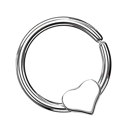 Piersando Continuous Piercing mit beweglichem Herz Fake Hoop Ring für Septum Ohr Tragus Helix Nase Lippe Ohr Nasenpiercing Nasenring Silber 1,0mm x 8mm