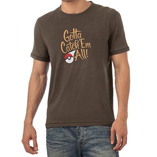 Texlab Gotta Catch 'Em All - Herren T-Shirt, Größe L, Braun (Nintendo 3 Ds Smash Bros)