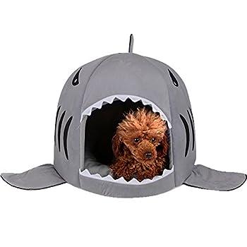 Chiot pliable Shark rond pour animal domestique Chien Chat Maison Lit Coussin Tapis Lit Petit Intérieur