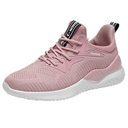 xuanyu Damen-Sportschuhe, leicht, atmungsaktiv, modisch, zum Wandern, Tennis, Sport, Fitness, Golf, Laufschuhe, Pink (N-pink), 36.5 EU