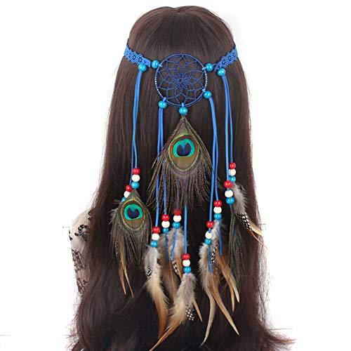 Haar Indianer Kostüm - Amorar Frauen Bohemien Feder Stirnband Boho Indianer Haarband Haarschmuck Haar Hippie Abend Party Halloween Karneval Stirnbänder Headband,EINWEG Verpackung