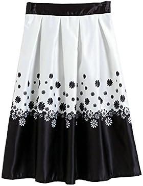 Sunnyshopday 112 1950s Falda Plisada Estampado Floral Falda de Playa Cintura Alta Vestidos Mujeres
