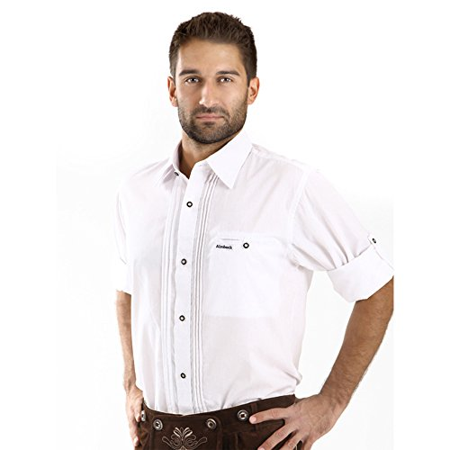 ALMBOCK Trachten Hemd Herren weiß | Trachtenhemd mit Standard Kent-Kragen aus Baumwolle, fürs Oktoberfest, slim-fit, langarm |traditionelles Trachtenhemd verfügbar in Gr. S-XXXL