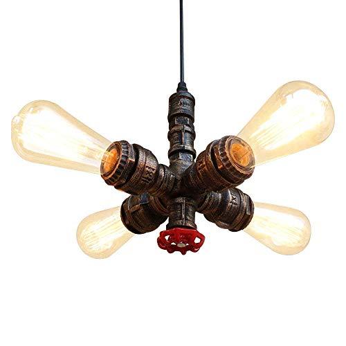 NIUYAO Lampe Suspension Lustre Métal Loft Style Soupape et Tuyau Industriel Vintage Chandelier Pendentif Lumière 4 Lights -Noir