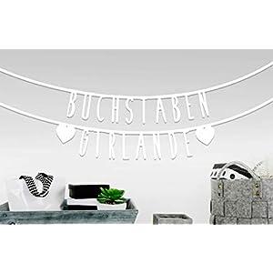 MIK funshopping Individualisierbare Buchstaben-Girlande für Geburtstag Hochzeit Feier Party Junggesellenabschied 105-teilig aus Papier (Weiß)