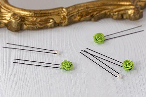 12x Haarschmuck Rosen grün & Perlen creme Braut Haarnadeln Hochzeit Kommunion Blumenkinder HS0006