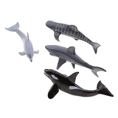 4pcs Plastique Marin Animal Modèle Jouet Enfant Educatif Cadeau Fête