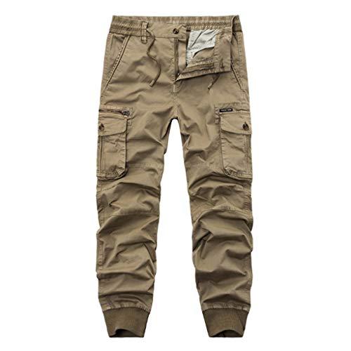 Aoogo Herren Lässige einfarbig Cargo Hose Jogging Pants Chino Slim Fit Einfarbige Trainingshose mit Riemen Pocket Overalls Lässige Pocket Sport Arbeit Lässige Hosen