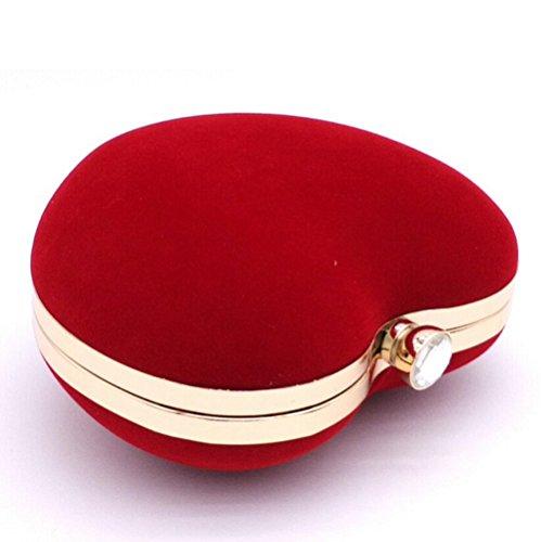 Flanella Partito di Sera Donne di Sacchetto Borsa del Raccoglitore Forma di Cuore Borsetta rosso