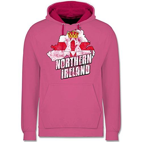 Länder - Northern Ireland Umriss Vintage - Kontrast Hoodie Rosa/Fuchsia