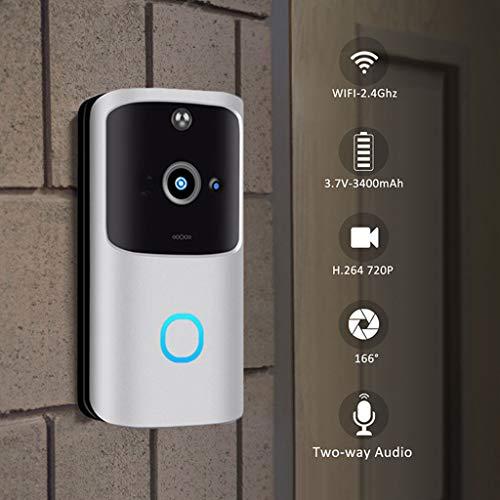 Campanello senza fili da esterno-TianranRT Wireless WiFi DoorBell Smart Video Phone Videocitofono visivo Videocitofono Elegante e originale,Argento