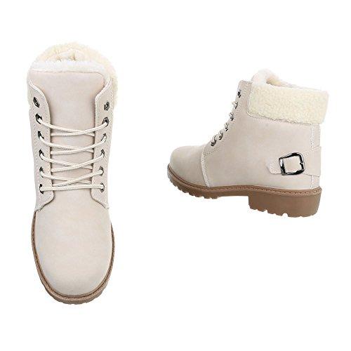 Ital-Design Schnürstiefeletten Damenschuhe Combat Boots Blockabsatz Warm Gefütterte Schnürsenkel Stiefeletten Beige CFC-02