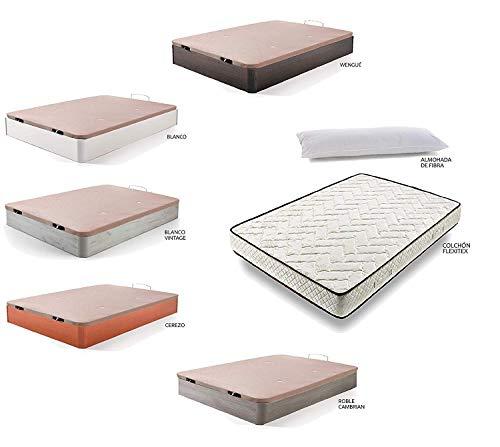 Hogar24 Es Cama Completa-Colchón Flexitex + Canape Abatible de Madera Color Blanco...