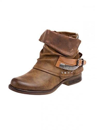 Damen Vintage Biker Boots SBO067 Camel