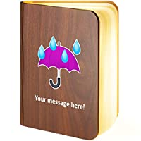 Personalised Wooden Folding Magnetic LED Book Lamp Featuring Umbrella-with-rain-Drops Emoji