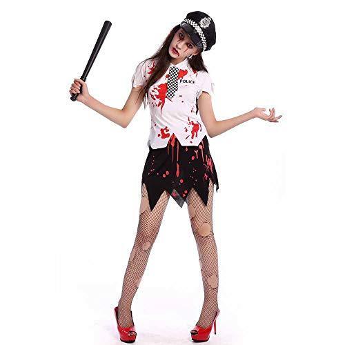 Kostüm Der Offizier Frauen - JXJ Kostüm-Horror-blutige Spindeluniform der Zombiepolizei der Frauen für Halloween-Parteimaskerade,M