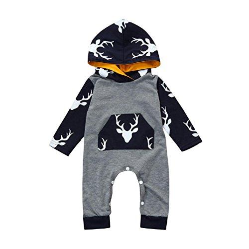 g,BeautyTop Neugeborenen Baby Boy Mädchen Langarm Weihnachten Deer Printed Mit Kapuze Strampler Overall Kleidung (80/6-9 Monate, Grau) (9 Monat Halloween-kostüm)
