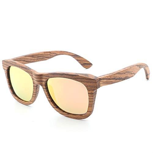 YJiaJu Neue Bambus handgefertigt Sonne Retro Holz Brille Farbfilm polarisierten Sonnenbrillen Männer und Frauen mit der gleichen Mode Sonnenbrillen Siamese (Color : Yellow)