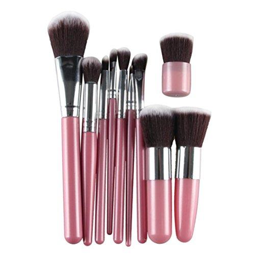 Kolylong Kit de Pinceau maquillage Professionnel 11 Pcs Brosse CosméTiques Pinceau De Maquillage Sets Kits Outils Brosse Visage Eyeshadow Brush Rose+ Argent