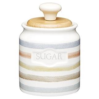 KitchenCraft Classic Collection Striped Ceramic Sugar Pot, 450 ml (16 fl oz) - Cream