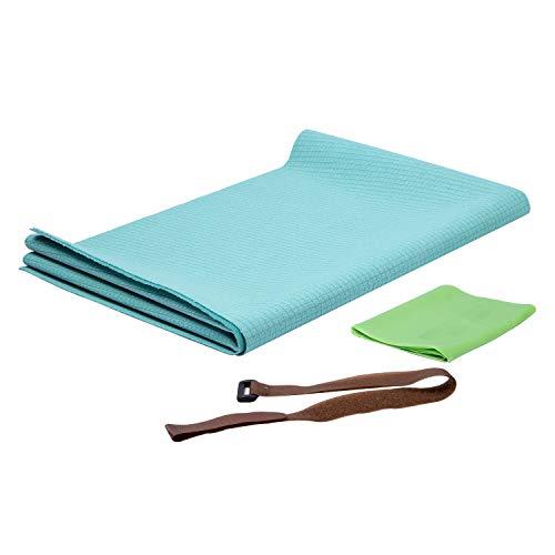 FrenzyBird 1mm Dicke Yogamatte mit Trageband und Elastische Tuch, Rutschfest, leicht, faltbar, umweltfreundlich, ideal für Hot Yoga, Bikram, Pilates, Barre, Schweiß