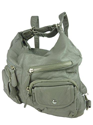 JODY 89297, 2in1 Damen Rucksackhandtasche, Handtasche und Rucksack, 37x28x15cm (grau taupe)