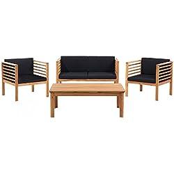 Conjunto de jardín de madera - Mesa - Sofá - 2 sillones - PACIFIC