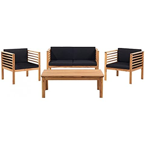 Set lounge da giardino in legno di acacia - Salotto da esterno - PACIFIC