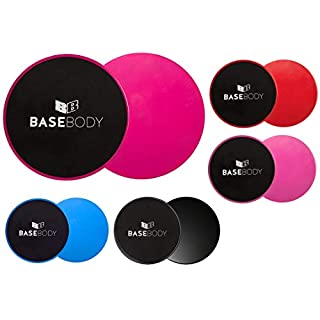 BaseBody Gliding Discs - Pink or Blue or Black - Core Sliders - Exercise Discs - Reversible for use on Carpet or Hard Floors - Core Trainer - Core Slider- Abdominal workout - Crossfit (Black)