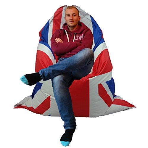 Pouf fauteuil poire géant intérieur/extérieur XXXL, Union Jack, étanche