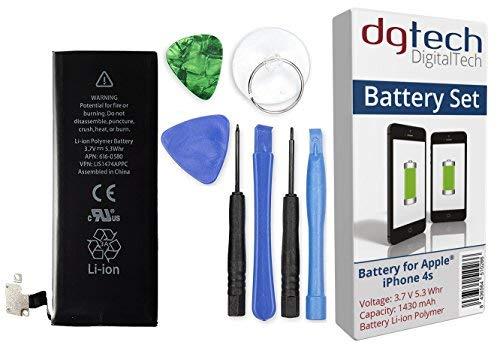 DGTech - Batteria compatibile per iPhone 4S, ad alta capacità, con attrezzi. 3,7 V, 1430 mAh. Compatibile con tutti gli APN