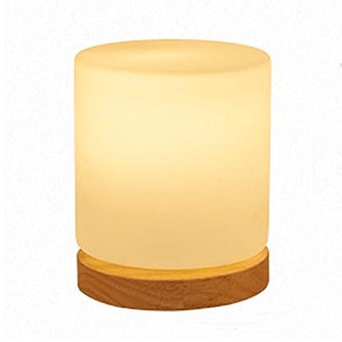 MZStech Lampe de table de chevet Lampe de bureau Lampe de bureau Lampe de bureau en bois massif pour chambre à coucher D