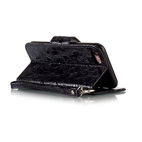 JAWSEU Coque Étui pour iPhone 7 en Cuir Portefeuille,iPhone 7 Etui Folio Pu,iPhone 7 Étui à Rabat Magnétique Housse Etui,2017 Neuf Bling Brillante Laser Désign Flip Pu Wallet Case Ultra Slim Leather F Noir