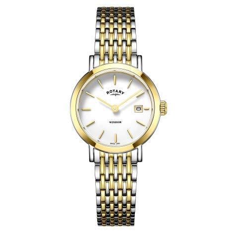 Rotary Montre à Bracelet Bicolore en Or et Argent pour Femme Windsor LB05302/01