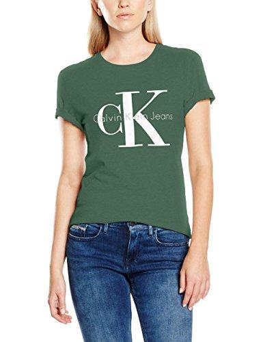 Calvin klein jeans shrunken tee true icon, t-shirt donna, verde (trekking green 347), large