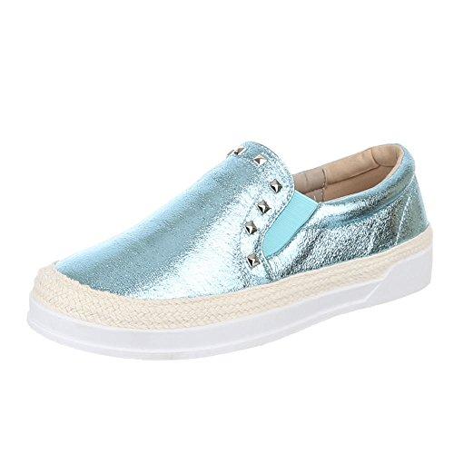 Damen Schuhe, 2311-Y, HALBSCHUHE, SLIPPER MIT NIETEN, Synthetik in hochwertiger Lederoptik und Textil, Hellblau, Gr (Mann Lollipop Kostüm)