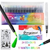 ZACRO Penne Acquerello 24 colori, 1 pennello d'acqua 2 * modello 8 * di carta, Pennarelli 24 Colori adatto per calligrafia, pittura per bambini, libro da colorare per adulti, opere d'arte, fumetti