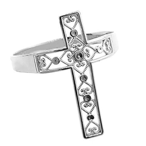 Little Treasures - 10ct White Gold Filigree Cross Ring
