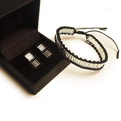 Duo bracelet et boucles d'oreilles en macramé noir et tubes argentés